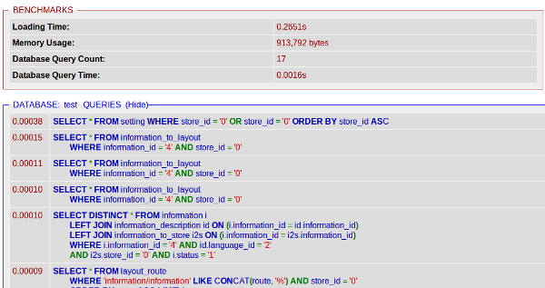 Статистика страницы после оптимизации опенкарта